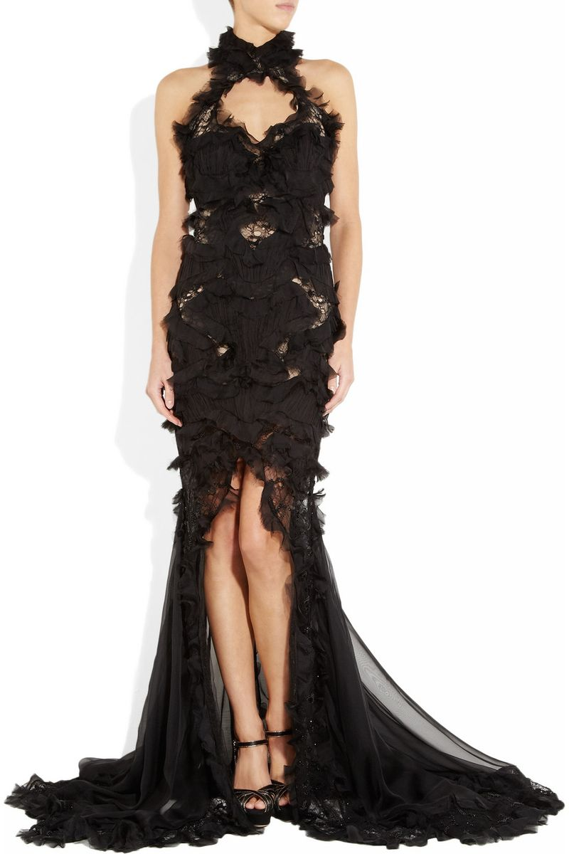 ALEXANDER MCQUEEN Embellished Silkchiffon and Lace Gown