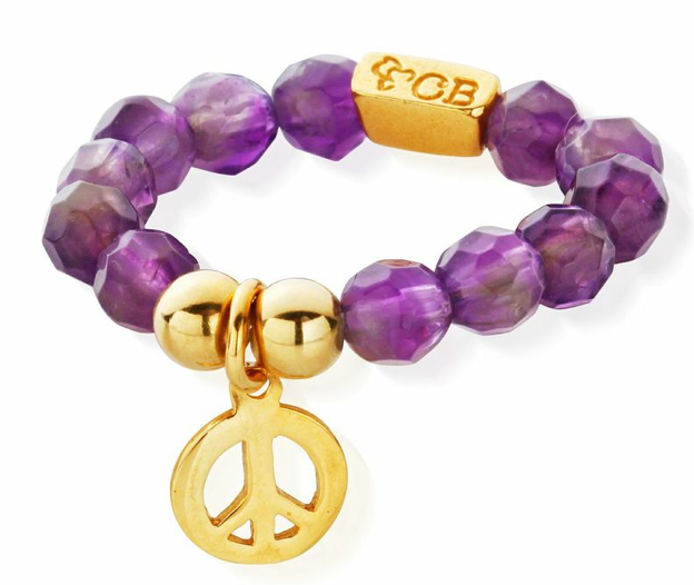 Amethyst Gold Didi Peace Ring �30
