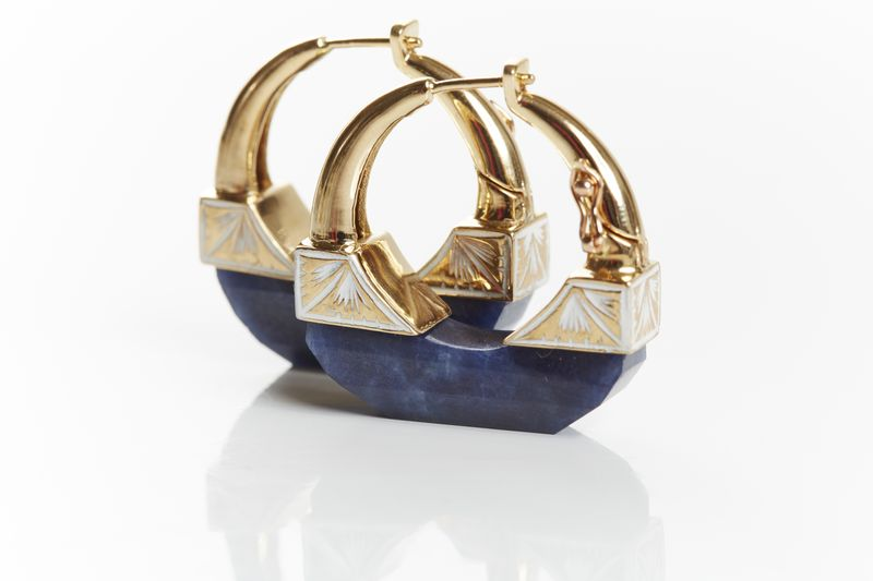 Neverending Hoop Earrings. Sapphire with White Enamel. 18k Gold. 31 cts Sapphire. -�2,475 designed by Jade Jagger available on 1stdibs.com