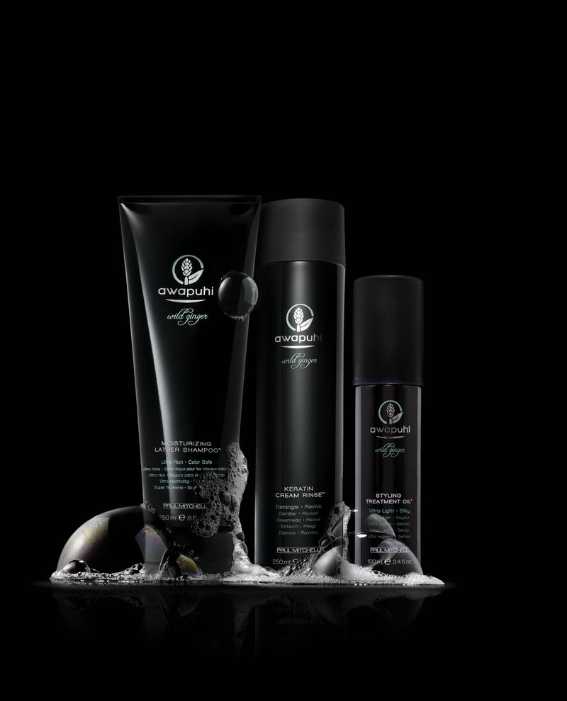 Awapuhi Wild Ginger Shampoo, Rinse and Oil Artistic